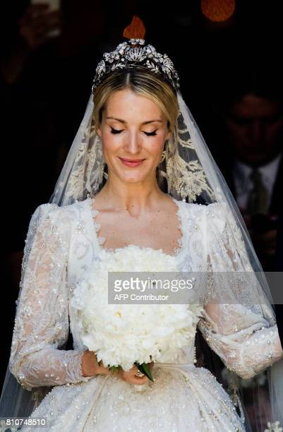 Ekaterina of Hanover leaves after her church wedding with Prince Ernst August of Hanover in Hanover central Germany on July 8 2017 Prince Ernst...