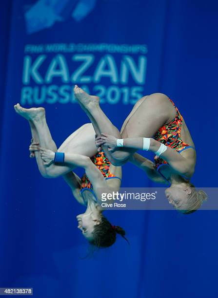 Ekaterina Petukhova and Yulia Timoshinina of Russia compete in the Women's 10m Platform Synchronised Final on day three of the 16th FINA World...