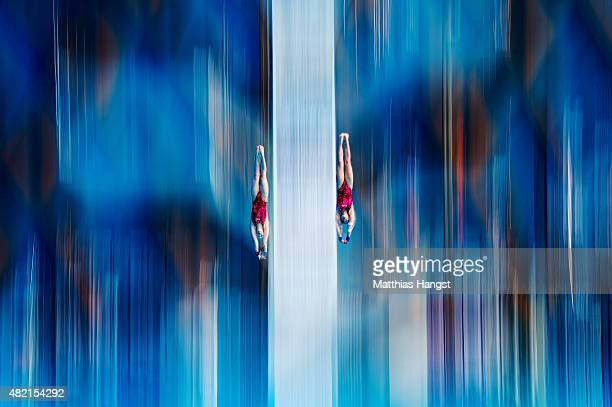 Ekaterina Petukhova and Yulia Timoshinina of Russia compete in the Women's 10m Platform Synchronised Preliminary Diving on day three of the 16th FINA...