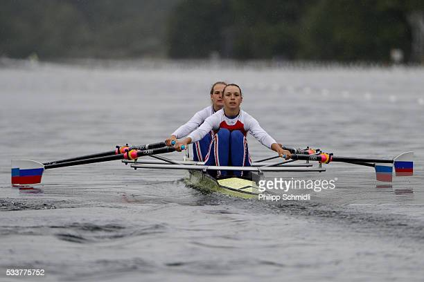 Ekaterina Pitirimova and Iuliia Volgina of Russia compete in the Women's Double Sculls repechage during Day 2 of the 2016 FISA European And Final...