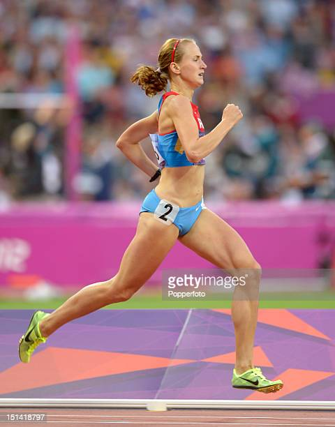 Ekaterina Poistogova of Russia during the Women's 800m Final on Day 15 of the London 2012 Olympic Games at Olympic Stadium on August 11 2012 in...
