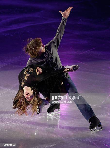 Ekaterina Pushkash and Jonathan Guerreiro of Russia skate in the Gala Exhibition during day seven of the 2011 World Junior Figure Skating...
