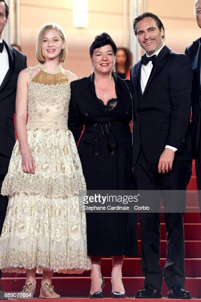 Ekaterina Samsonov director Lynne Ramsay and Joaquin Phoenix attends the 'You Were Never Really Here' premiere during the 70th annual Cannes Film...