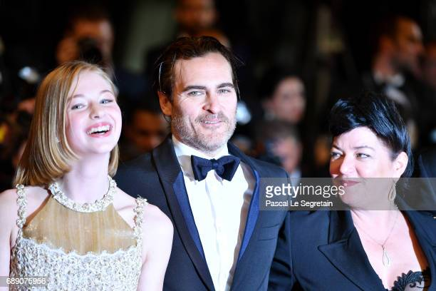 Ekaterina SamsonovJoaquin Phoenix and director Lynne Ramsay attend the 'You Were Never Really Here' screening during the 70th annual Cannes Film...