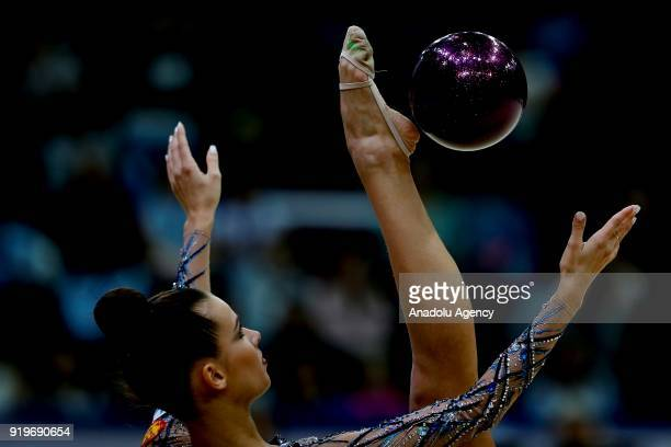 Ekaterina Selezneva of Russia performs during the 2018 Moscow Rhythmic Gymnastics Grand Prix GAZPROM Cup in Moscow Russia on February 17 2018