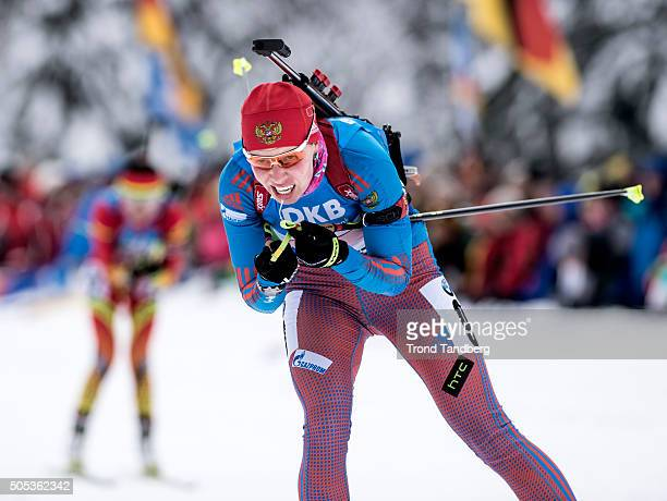 Ekaterina Shumilova of Russia in action during the Women 4 x 5 km relay Biathlon race at the IBU Biathlon World Cup Ruhpolding on January 17 2016 in...