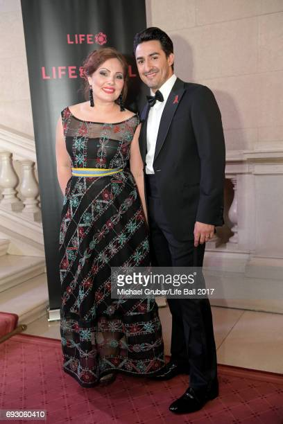 Ekaterina Siurina and Charles Castronovo attend the Life Celebration Concert at Burgtheater on June 6 2017 in Vienna Austria The concert marks the...
