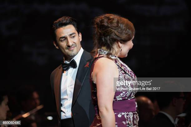 Ekaterina Siurina and Charles Castronovo perform on stage during the Life Celebration Concert at Burgtheater on June 6 2017 in Vienna Austria The...