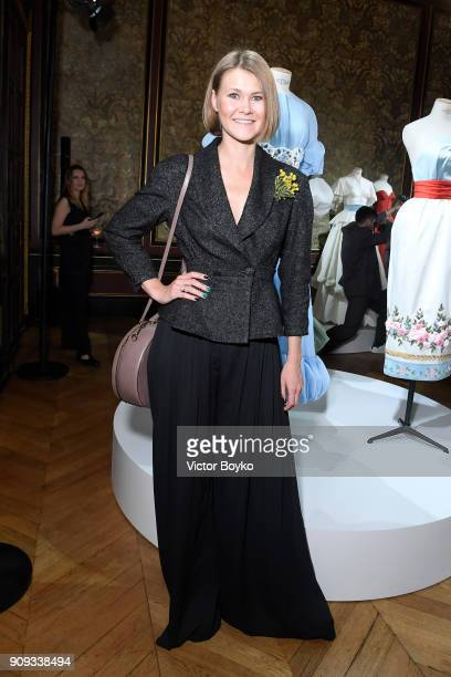 Ekaterina Smirnova attends the Ulyana Sergeenko Presentation as part of Paris Fashion Week Haute Couture Spring Summer 2018 show as part of Paris...