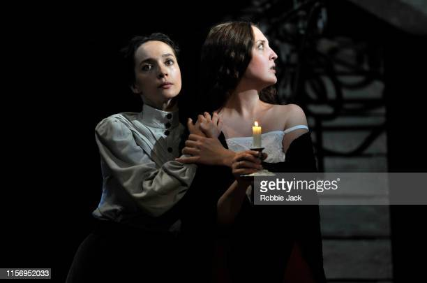 Ekaterina Tarasova as Irina and Ekaterina Kleopina as Natasha in The Maly Drama Theatre of St Petersburg's production of Anton Chekhov's Three...