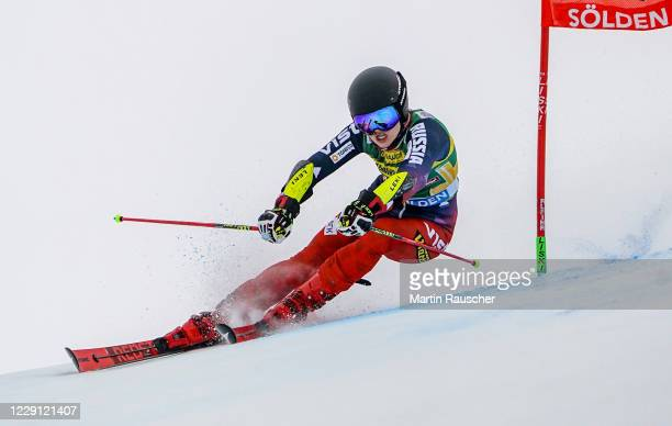 Ekaterina Tkachenko of Russia competes during the Women's Giant Slalom of the Audi FIS Alpine Ski World Cup at Rettenbach glacier on October 17, 2020...