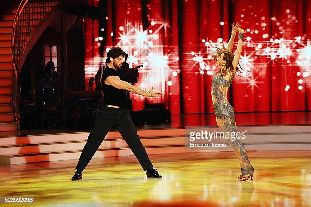 Ekaterina Vaganova and Michele Marrone perform during the award during the 'Ballando Con Le Stelle' Tv Show at Auditorium RAI on April 23 2016 in...