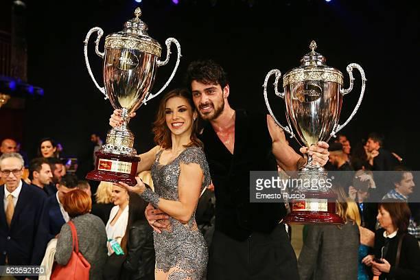 Ekaterina Vaganova and Michele Marrone show the award during the 'Ballando Con Le Stelle' Tv Show at Auditorium RAI on April 23 2016 in Rome Italy
