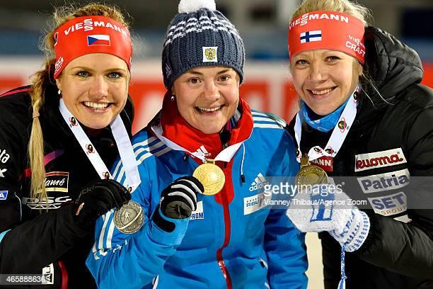 Ekaterina Yurlova of Russia takes 1st place, Gabriela Soukalova of the Czech Republic takes 2nd place, Kaisa Makarainen of Finland takes 3rd place...