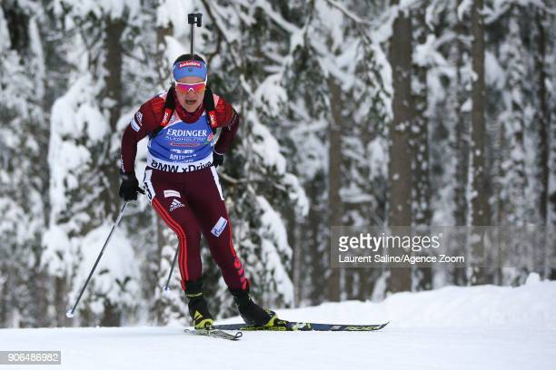 Ekaterina Yurlovapercht of Russia competes during the IBU Biathlon World Cup Women's Sprint on January 18 2018 in AntholzAnterselva Italy