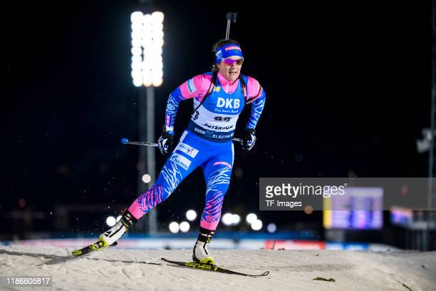 Ekaterina Yurlova-Percht of Russia in action competes during the Women 15 km Individual Competition at the BMW IBU World Cup Biathlon Oestersund at...