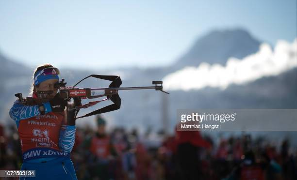 Ekaterina YurlovaPercht of Russia warms up on the shooting range before the IBU Biathlon World Cup Women's 75 km Sprint on December 13 2018 in...