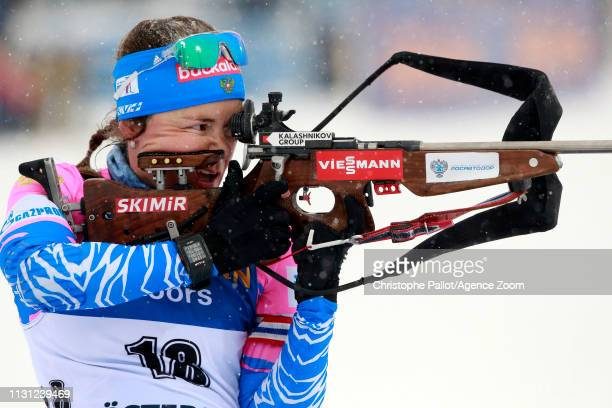 Ekaterina Yurlova-percht of Russia wins the silver medal during the IBU Biathlon World Championships Men's and Women's Mass Start on March 17, 2019...