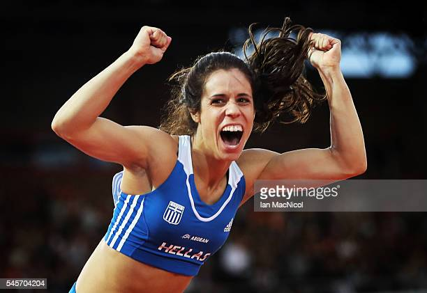 Ekaterini Stefanidi of Greece celebrates victory and a new Championship Record in the Women's Pole Vault during Day Four of The European Athletics...