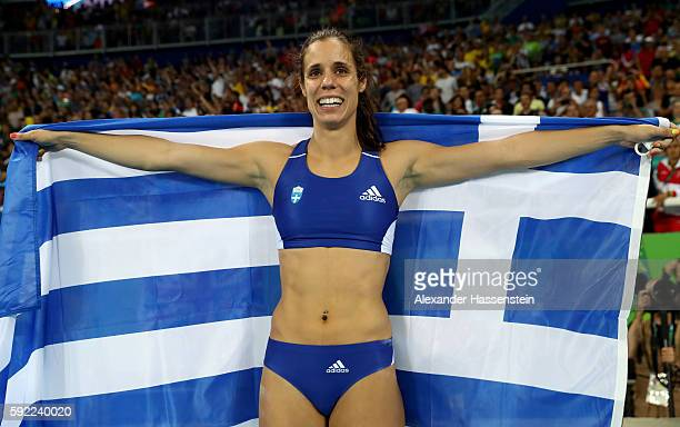 Ekaterini Stefanidi of Greece celebrates winning gold in the Women's Pole Vault Final on Day 14 of the Rio 2016 Olympic Games at the Olympic Stadium...