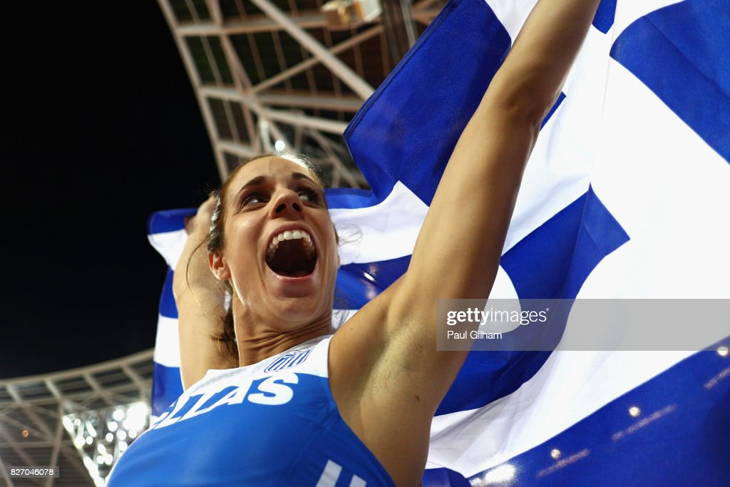Ekaterini Stefanidi of Greece celebrates winning gold in the Women's Pole Vault final during day three of the 16th IAAF World Athletics Championships London 2017 at The London Stadium on August 6, 2017 in London, United Kingdom.