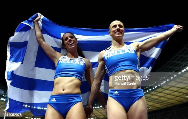 Ekaterini Stefanidi of Greece celebrates winning Gold with Nikoleta Kiriakopoulou of Greece who celebrates winning Silver in the Women's Pole Vault...