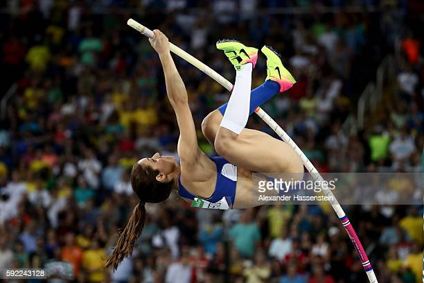 Ekaterini Stefanidi of Greece competes in the Women's Pole Vault Final on Day 14 of the Rio 2016 Olympic Games at the Olympic Stadium on August 19...