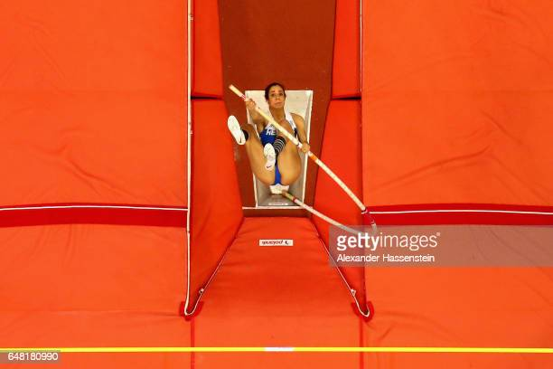 Ekaterini Stefanidi of Greece competes in the Women's Pole Vault final on day two of the 2017 European Athletics Indoor Championships at the Kombank...