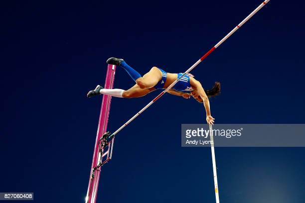 Ekaterini Stefanidi of Greece competes in the Women's Pole Vault final during day three of the 16th IAAF World Athletics Championships London 2017 at...