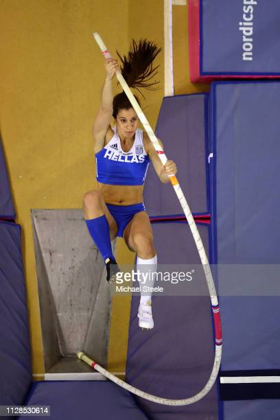 Ekaterini Stefanidi of Greece in action during the final of the women's pole vault on day three of the 2019 European Athletics Indoor Championships...