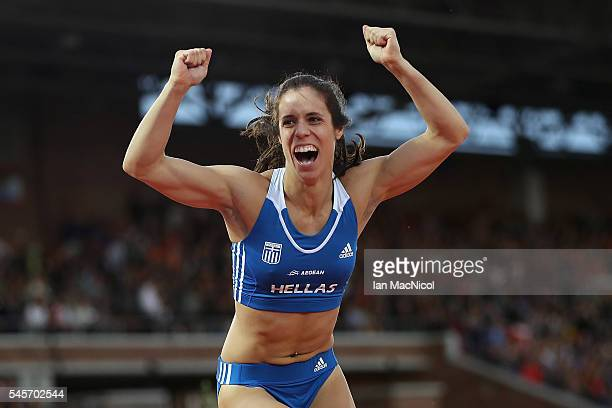 Ekaterini Stefanidi of Greece reacts during the womens pole vault on day four of The 23rd European Athletics Championships at Olympic Stadium on July...