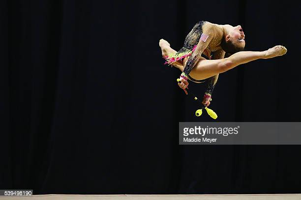 Ekatherina Kapitonova competes with the clubs during 2016 USA Gymnastics Championships - Day 2 at the Dunkin' Donuts Center on June 11, 2016 in...