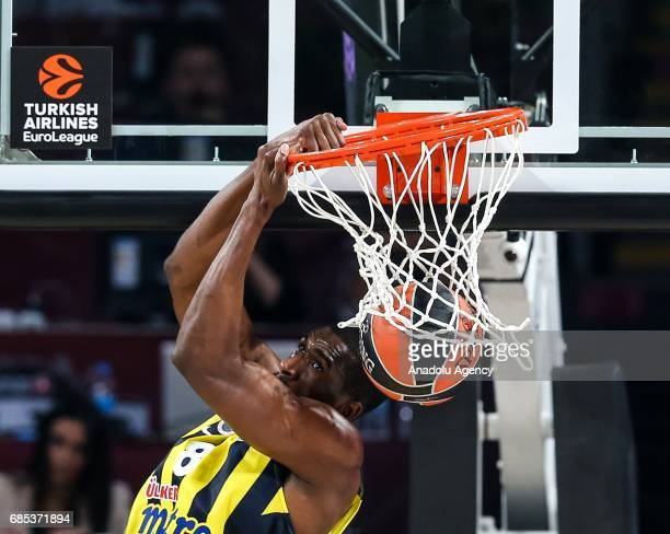 Ekbe Udoh of Fenerbahce dunks the ball during the Turkish Airlines Euroleague Final Four basketball match between Fenerbahce and Real Madrid at Sinan...