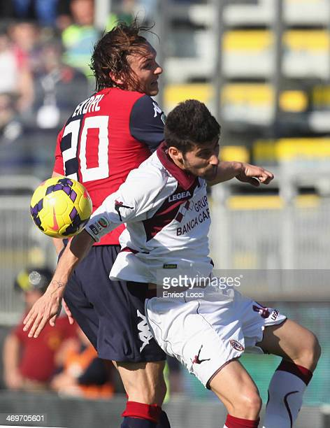 Ekdal of Cagliari compete for the ball during the Serie A match between Cagliari Calcio and AS Livorno Calcio at Stadio Sant'Elia on February 16 2014...