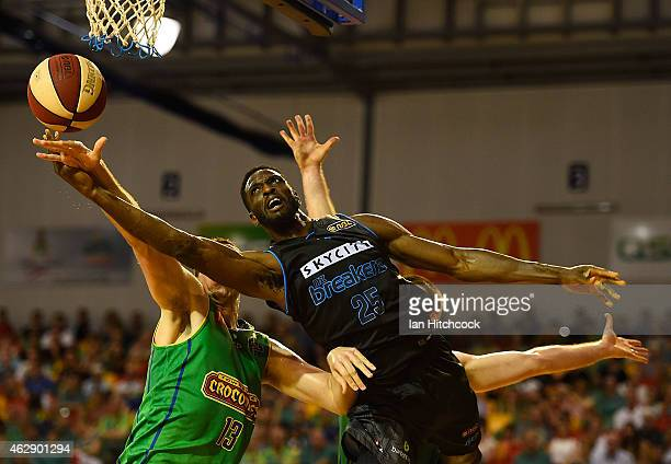 Ekene Ibekwe of the Breakers attempts a layup during the round 18 NBL match between the Townsville Crocodiles and New Zealand Breakers at the...
