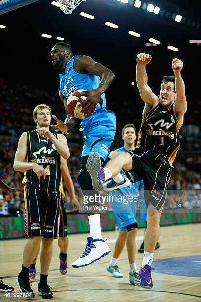 Ekene Ibekwe of the Breakers attempts a shot at the hoop during the round 16 NBL match between the New Zealand Breakers and the Sydney Kings at...