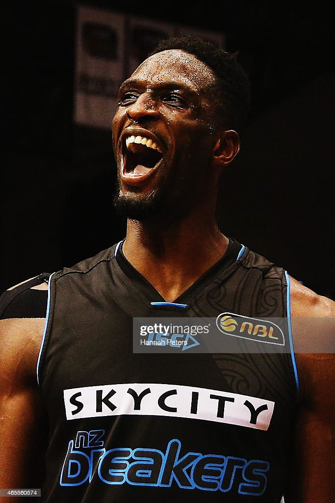 Ekene Ibekwe of the Breakers celebrates after winning game two of the NBL Grand Final series between the New Zealand Breakers and the Cairns Taipans at North Shore Events Centre on March 8, 2015 in Auckland, New Zealand.