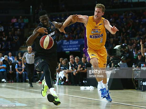 Ekene Ibekwe of the Breakers competes for the ball with Josh Duinker of the Kings during the round eight NBL match between New Zealand Breakers and...