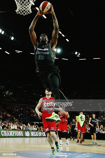Ekene Ibekwe of the Breakers dunks the ball during the round 10 NBL match between the New Zealand Breakers and Perth Wildcats at Vector Arena on...