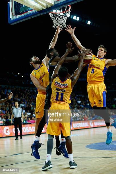 Ekene Ibekwe of the Breakers is put under pressure during game one of the NBL Finals series between the New Zealand Breakers and the Adelaide 36ers...