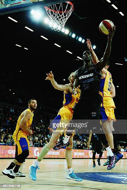 Ekene Ibekwe of the Breakers lays the ball up during the round two NBL match between the New Zealand Breakers and the Adelaide 36ers at Vector Arena...