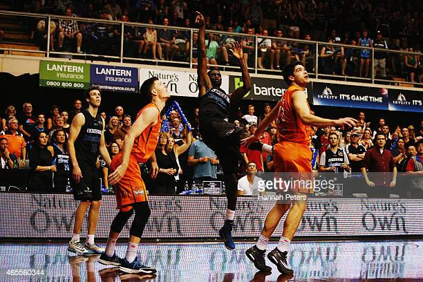 Ekene Ibekwe of the Breakers makes the winning shot to win game two of the NBL Grand Final series between the New Zealand Breakers and the Cairns...