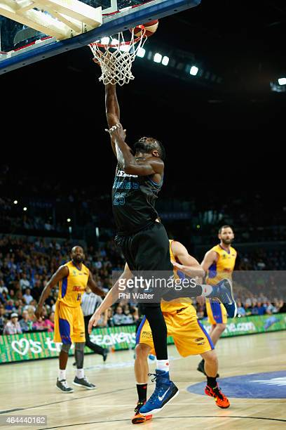 Ekene Ibekwe of the Breakers shoots during game one of the NBL Finals series between the New Zealand Breakers and the Adelaide 36ers at Vector Arena...