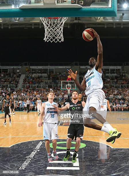 Ekene Ibekwe of the Breakers shoots during the round 10 NBL match between Melbourne United and the New Zealand Breakers at Hisense Arena on December...