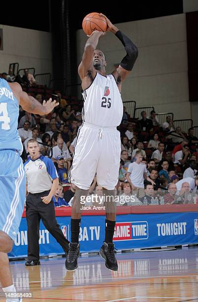 Ekene Ibekwe of the Portland Trailblazers shoots during NBA Summer League on July 20, 2012 at Cox Pavilion in Las Vegas, Nevada. NOTE TO USER: User...