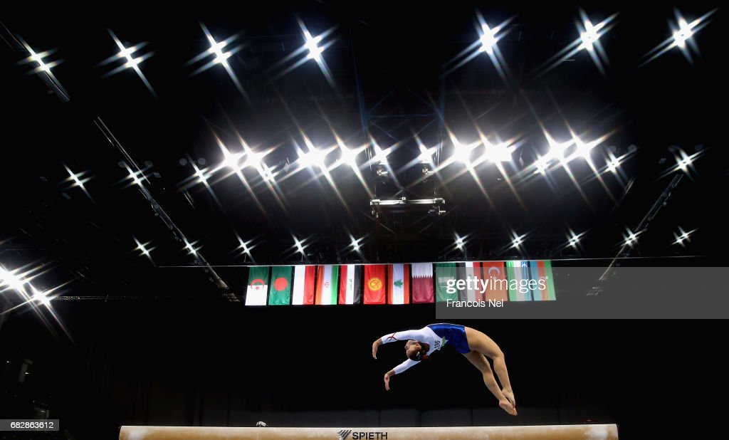 Ekin Morova of Turkey competes in the Women's Beam Qualification during day three of Baku 2017 - 4th Islamic Solidarity Games at the National Gymnastics Arena on May 14, 2017 in Baku, Azerbaijan.