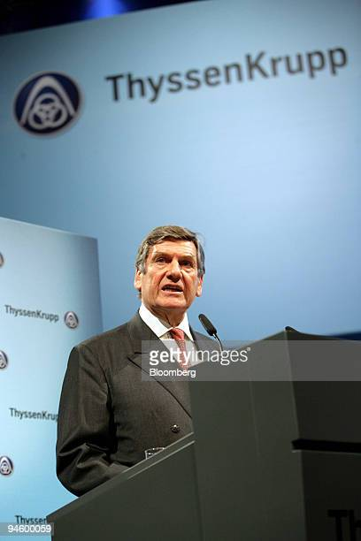 Ekkehard Schulz, chairman of the executive board of ThyssenKrupp AG speaks during the company's annual stockholders' meeting in Bochum, Germany,...
