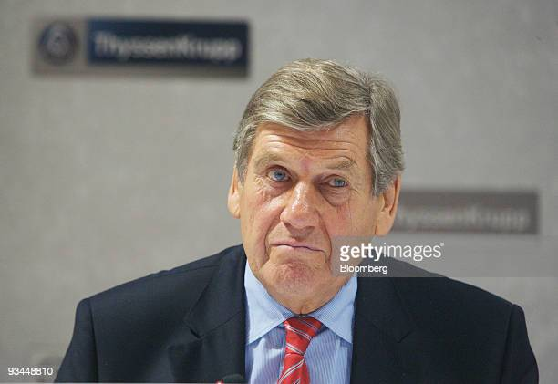 Ekkehard Schulz, chief executive officer of ThyssenKrupp AG, pauses during a press conference in Essen, Germany, on Friday, Nov. 27, 2009....