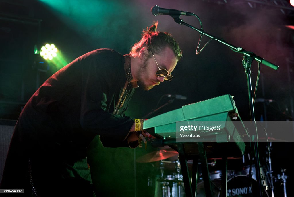 Ekku Lintunen, keyboards and vocals with Have You Ever Seen The Jane Fonda Aerobic VHS performs on the Calling Out stage at Kendal Calling Festival at Lowther Deer Park on July 30, 2017 in Kendal, England.