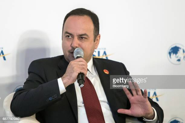 Eklil Hakimi Afghanistan's finance minister speaks during the Boao Forum for Asia Annual Conference 2017 in Boao China on Saturday March 25 2017 The...